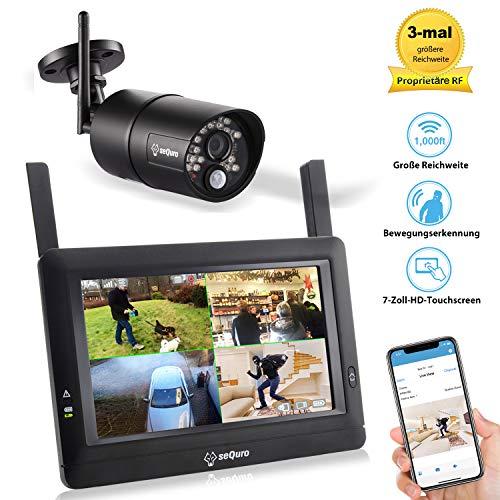 Sequro GuardPro DIY drahtloses Videoüberwachungssystem mit großer Reichweite – 7 Zoll Touchscreen-Bildschirm - Außen/Innenkamera mit Nachtsichtfunktion - IP66 wetterfest