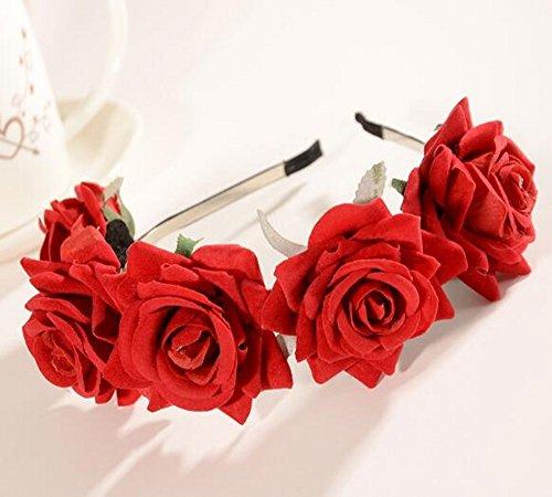 CHSYOO Rot Haarreif Rose Kopfband Damen Blumenstirnband Mädchen Blume Tiara für Hochzeit Braut Brautjungfer Geburtstag Party Kinder Party