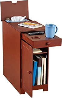 Collections Etc Wood Multi-use Side Table with Flip Top and Drawer