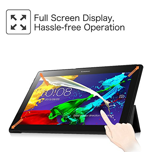 Fintie Hülle Case für Lenovo Tab 3 10 Plus/Tab 3 10 Business/Tab 2 A10 - Folio Kunstleder Schutzhülle Tasche Etui für Lenovo Tab 10 / Tab 2 A10-30 10,1 Zoll Tablet, Schwarz