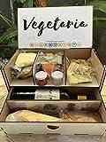 la caja de Noel VEGETARIA. GOURMET BOX. Menú Prémium para 2, vegetariana. Calentar, presentar y listo para degustar, comer.