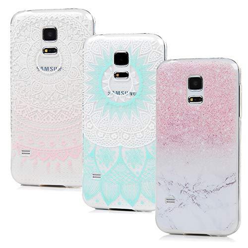 S5 Mini Handyhülle Kompatible mit Samsung Galaxy S5 Mini Hülle Case Cover Transparent Silikon Tasche Durchsichtig Schutzhülle Handytasche Skin Softcase Dünn Schale Bumper*3 Silikonhüllen Mädchen-S3