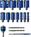 Bosch Professional Coffret de 15x scies trépans Expert Construction Material (pour Bois résineux, Ø 20-76 mm, Accessoire Perceuse à percussion)