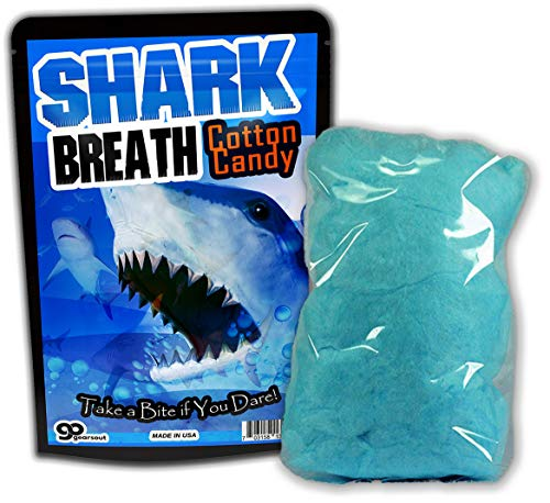 GearsOut Shark Breath Cotton Candy Gluten Free Blue Candy Cool Shark Ideas for Kids Stocking Stuffers for Boys White Elephant Secret Santa, 1 Ounce