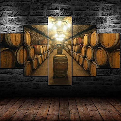 VKEXVDR Cuadro sobre Lienzo-5 Piezas- Barriles de Vino de Madera de Roble -Cuadros Modernos Impresión de Imagen Artística Digitalizada|Lienzo Decorativo para Tu Salón o Dormitorio