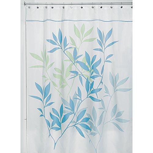 InterDesign Leaves rideau de douche, rideau baignoire design 180,0 cm x 200,0 cm en polyester, rideau bain chic avec motif de feuilles, bleu/vert
