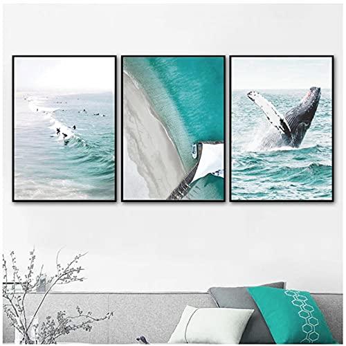 Mar playa árbol de coco tabla de surf ballena pared arte lienzo pintura carteles nórdicos e impresiones cuadros de pared para decoración de sala de estar Mwypec