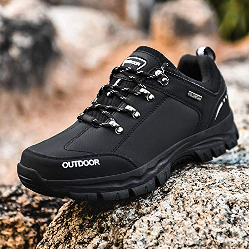 Men's Running Shoes,Zapatos de Gimnasia Zapatos Ligeros,Low Help Zapatos de Senderismo de Gran tamaño al Aire Libre Zapatos de Senderismo Casuales-Black_48#