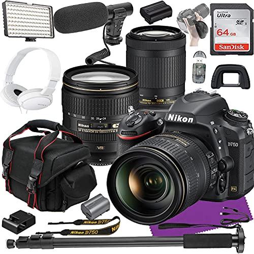 Nikon D750 FX-Format Digital SLR Camera 2 Lens Kit with 24-120mm f/4G + 70-300mm f/4.5-6.3G VR Lens + Video Creator Bundle
