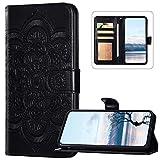 Funda tipo cartera compatible con Nokia 1.3, piel sintética con cierre magnético, diseño de flores de mandala, color negro