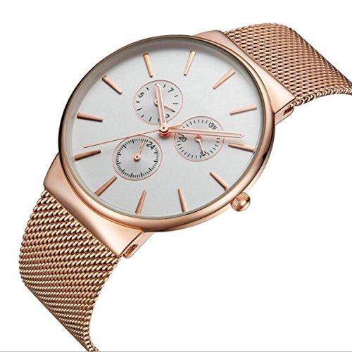 YXMAHW Einfache Und Elegante Beiläufige Uhren Shi Ying Bewegung Des Ultradünne Wasserdichte Uhr Zeiger Display,Gold-OneSize