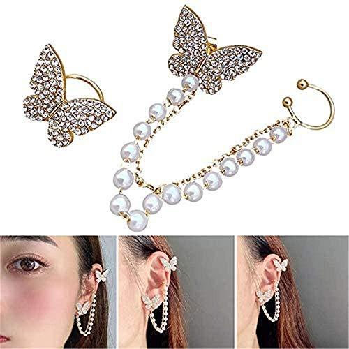 DBFISHINGREEL Delicate Tiny Butterfly Stud with Chain Earrings, Asymmetry Earrings Ear Clip Set, Dainty Silver Cuff Chain Earrings Wrap Tassel Earrings - for Women Jewelry (1pcs)