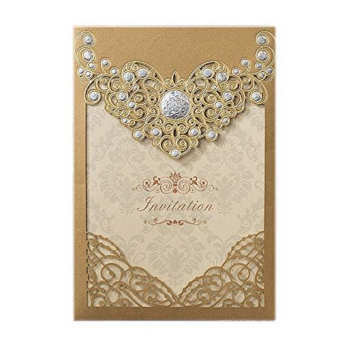 Europese gouden uitnodiging bruiloft uitnodigingskaart - laser hol drukbaar blanco papier en envelop - bruiloft partij afstuderen ceremonie (pak van 50)