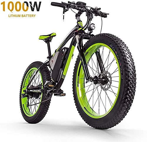 """HSART Mountain Bike Elettrica da 1000W per Adulti, Bicicletta Elettrica Pneumatico Grasso 26\"""" Batteria agli Ioni Litio 48V 17.5AH 27 velocità MTB Professionale Bicicletta per Uomo Donne,Black Green"""