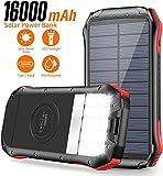 ORITO Cargador Solar Portátil Power Bank Solar 16000mAh, Batería Externa Solar con Carga Rápida 2 Salidas USB y 1 Entrada USB-C IP65 Impermeable 15 LED Linterna SOS 4 Modos, para Smartphones y iPad