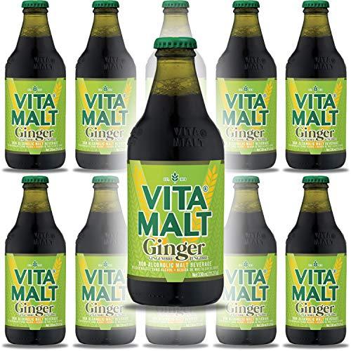 Vita Malt Ginger, Non-Alcoholic Malt Beverage, 11.2oz Glass Bottle (Pack of 10, Total of 110 Fl Oz)
