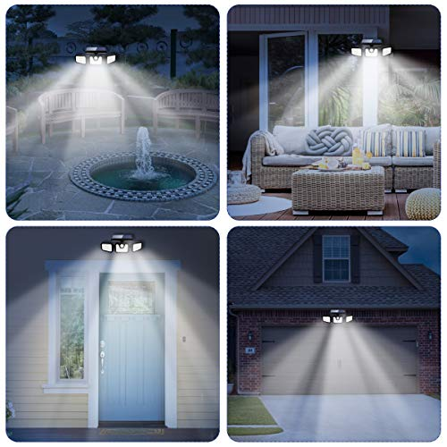 Solar Lights Outdoor with Motion Sensor, CHARMINER 3 Heads Security Adjustable Lights Solar Powered, 74 LED Flood Lights Motion Detected Spotlight for Garage Yard Porch Garden, 2 Pack