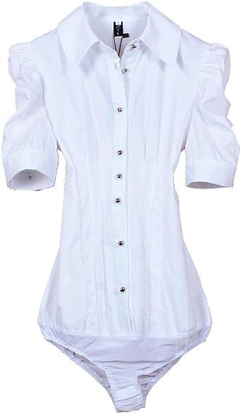 ZAMME De la Mujer de Manga Corta Blanca Delgada Camisa Body ...