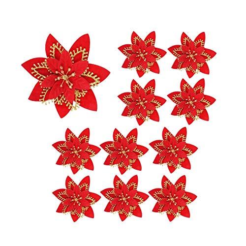 Minyue - Flores artificiales de Navidad, diseño de flores de seda con purpurina, para árbol de Navidad, decoración de bodas, 14 cm, color rojo