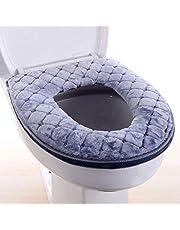 Delleu Almohadillas de la tapa del asiento del inodoro, alfombrilla lavable del cojín del asiento del inodoro Almohadillas de la tapa del asiento del inodoro lavables en invierno con cremallera
