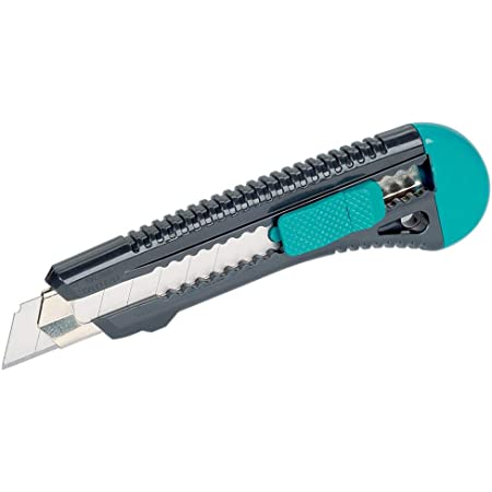 Wolfcraft 4146000 Cúter de cuchillas separables estándar con guía de acero inoxidable y cuchilla de 18 mm plata/negro