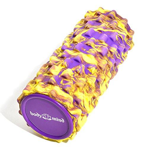 Body & Mind Faszienrolle Massage-Rolle Fitnessrolle Sportrolle Therapierolle für effektive Selbstmassage und Faszien-Training; 33 x 14,5 cm; Gelb-Violett