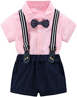 LJYH Baby Boys Outfits Set Dress Shirt with Bowtie+Suspender Shorts