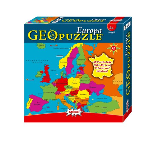 AMIGO Spiel + Freizeit 60349509 Amigo 00380 - GeoPuzzle - Europa, 58 Teile