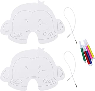 15pcs DIY Paper Halloween Mask Set White Monkey Blank Painting Halloween Masks Craft Toy Art Materials for Children