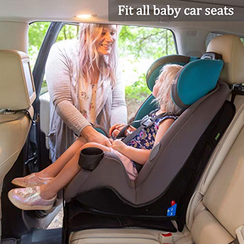 Car Seat Protector for Baby Child Car Seats - Auto Car Seat Mat Under Safety Seat with Thickest Padding to Protect Fabric and Leather Seats, Black Hem