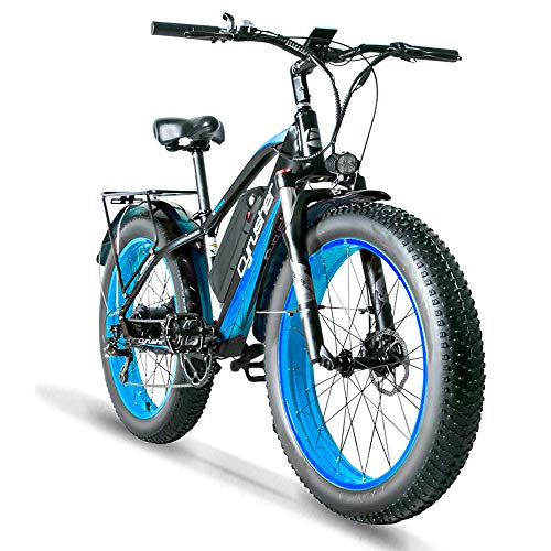 Cyrusher XF650 Electric Bike 1000W Mountain Bike 26 * 4inch Fat Tire Bikes 7 Speeds Ebikes for Adults with 13Ah Battery (Blue)