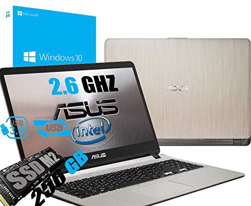 Notebook Asus Vivobook Portatile Pc Display da 15.6' Full HD /Cpu Intel Dual Core Fino a 2.60Ghz /Ram DDR4 4Gb /SSD M.2 256GB /Intel UHD Graphics 605 /Hdmi Wifi Bluetooth /Windows 10 /Open Office