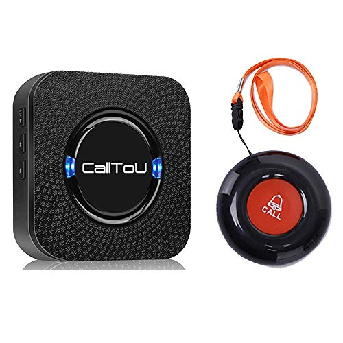 CallToU Wireless Caregiver Pager Call Button Nurse Alert System Call Bell for Home/Elderly/Patients/Disabled 1 Waterproof Transmitters 1 Plugin Receivers,Black