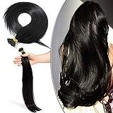 Extension Capelli Veri Cheratina 100 Ciocche Neri 50cm I Tip - 100% Remy Human Hair Extension Keratina Capelli Umani Lisci 50g #1 Jet Nero