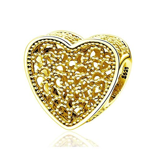 JINGGEGE Jengijo Bee Hive Gold Color Galaxy Clear CZ Bead Real 925 Sterling Silver Charm Fit Pulsera Original DIY Joyería (Color : Filled with Romance)