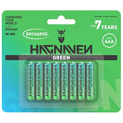 HAGNAVEN® Green vorgeladene NI-MH Micro AAA Batterie | 8 Stück | WIEDERAUFLADBARER AKKU | vorgeladen und einsatzbereit | Hohe KAPAZITÄT | 800 mAh und 1.2 V | Hochwertige QUALITÄTSZELLEN