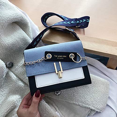 Mdsfe Bolsos de Hombro para Mujer Bolsos de Mensajero Cuero de la PU Bolsos Cruzados con Hebilla de Metal Monedero 2020 Bolsos de Viaje Femeninos - Azul, 14cm X 19cm X 5cm