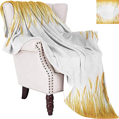 MKOK Harvest Commercial Grade Printed Blanket Crop Rice Field Frame Cereal Bread Seasonal Farmland Flour Food Theme Queen King W54 x L72 Inch Marigold Yellow White