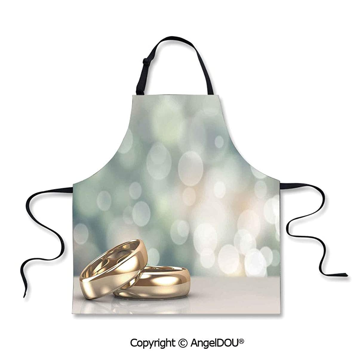 SCOXIXI Printed Kitchen Apron Baking Apron Two Wedding Engagement Rings on Bokeh Abstract Background for Kitchen Men Women use.