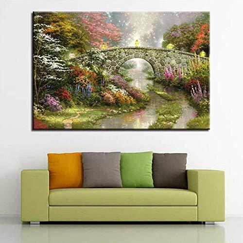 zzlfn3lv Decoración del hogar Sin Marco Póster Sala de Estar 1 Panel Puente en el Bosque Imagen de Arte de Pared Moderna HD Imprimir 1 57x90cmx1pcs