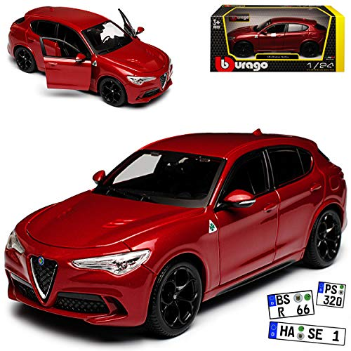 Bburago Alfa Romeo Stelvio Typ 949 SUV Rot Metallic Ab 2017 1/24 Modell Auto