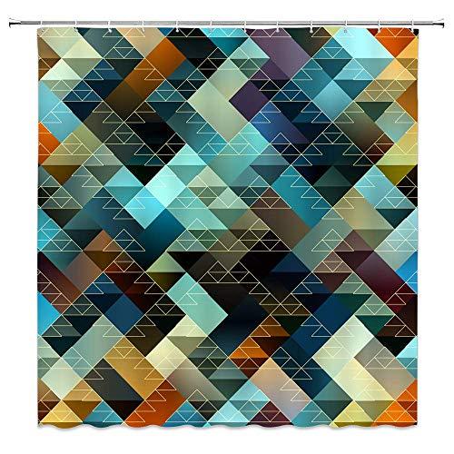 N\A Cortina de Ducha de Mosaico decoración Colorida Cortina de baño Tela de poliéster Resistente al Agua Lavable a máquina con 12 Ganchos