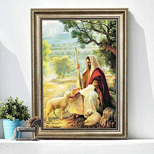 Abwan 5D - Kit de pintura con diamantes de imitación para decorar la habitación, oficina, pared, diseño de Jesús y Virgen María
