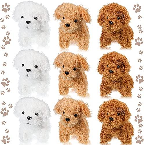 9 Pieces Cute Plush Stuffed Animal Puppy Dog Toy Mini Dog Plush Stuffed Doll Pendant Keychain Soft Plush Animal Keychain Backpack Clips for Girls Boys Party Favor Handbag Pendant, 3 Colors, 4.72 Inch