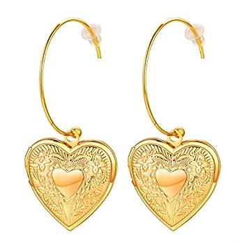 Women Girls 18K Gold Plated Cute Heart Locket Dangle Drop Earrings,with Gift Box