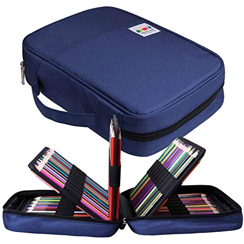 Holds 220 Coloured Pencil Case Holder,JAKAGO Large Capacity Pen Holder Slot Organizer Waterproof Bag for Watercolour Pencils & Markers& Gel Pens,Great Gift for Student Artist (Blue)