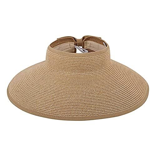 NALCY Tejido Superior Paja Sombrero, Sombreros de Paja para Mujer, Ala Grande Visera Sol, Visera Plegable Gorro, de Ala Ancha, Verano Playa Vacaciones Respirable Anti-UV para Mujer