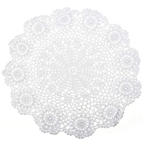 NaroFace Handarbeit Geklöppelt Spitzendeckchen Baumwolle Placemat Blume Matte, 37cm
