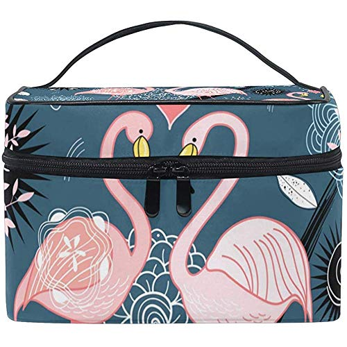 Cosmetic Bag, Love Flamingos Travel Makeup Organizer Bag Cosmetic Case Portable Train Case for Women Girls