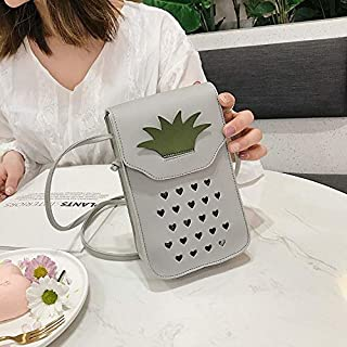 YKDY Shoulder Bag Pineapple Shape Hollow Cellphone Bag PU Single Shoulder Bag Ladies Messenger Bag (Black) (Color : Grey)